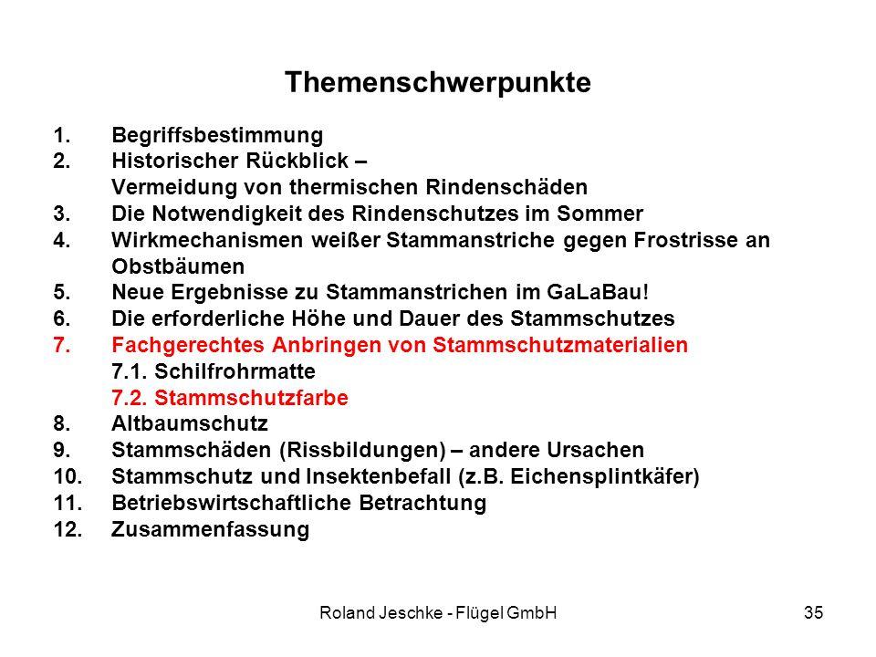 Roland Jeschke - Flügel GmbH35 Themenschwerpunkte 1.Begriffsbestimmung 2.Historischer Rückblick – Vermeidung von thermischen Rindenschäden 3.Die Notwe