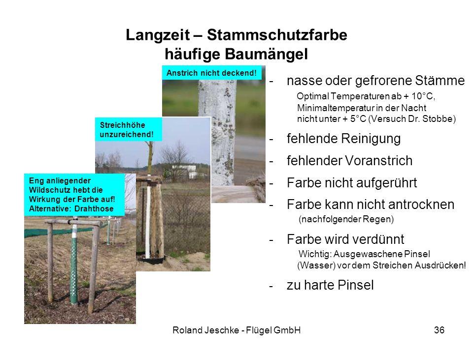 Roland Jeschke - Flügel GmbH36 Langzeit – Stammschutzfarbe häufige Baumängel -nasse oder gefrorene Stämme Optimal Temperaturen ab + 10°C, Minimaltempe
