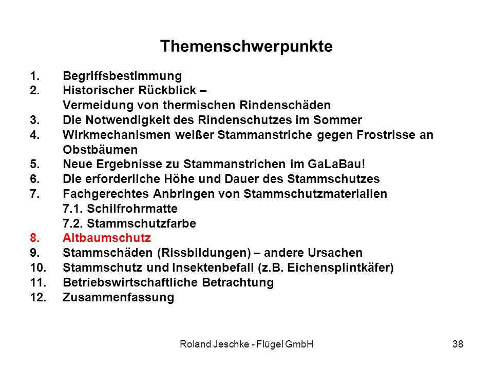 Roland Jeschke - Flügel GmbH38 Themenschwerpunkte 1.Begriffsbestimmung 2.Historischer Rückblick – Vermeidung von thermischen Rindenschäden 3.Die Notwe