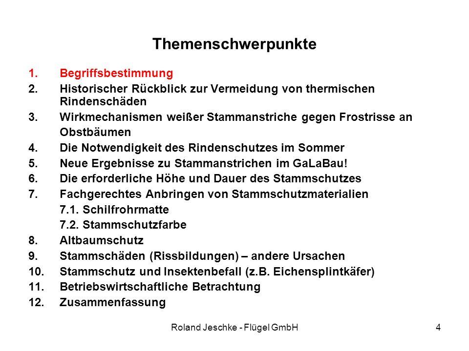 Roland Jeschke - Flügel GmbH35 Themenschwerpunkte 1.Begriffsbestimmung 2.Historischer Rückblick – Vermeidung von thermischen Rindenschäden 3.Die Notwendigkeit des Rindenschutzes im Sommer 4.