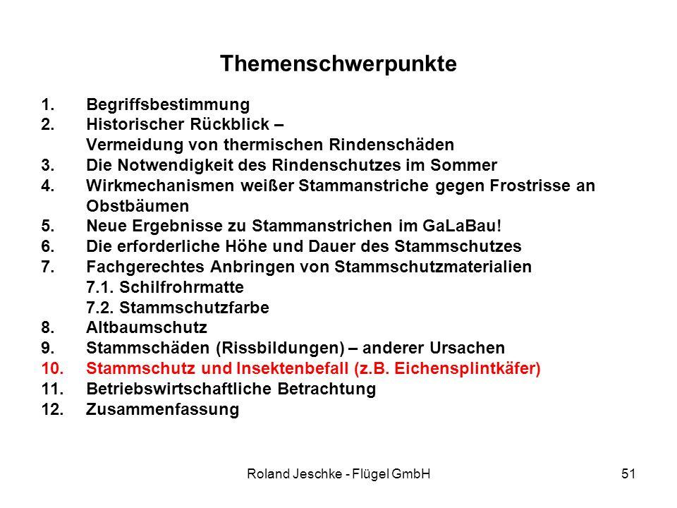 Roland Jeschke - Flügel GmbH51 Themenschwerpunkte 1.Begriffsbestimmung 2.Historischer Rückblick – Vermeidung von thermischen Rindenschäden 3.Die Notwendigkeit des Rindenschutzes im Sommer 4.