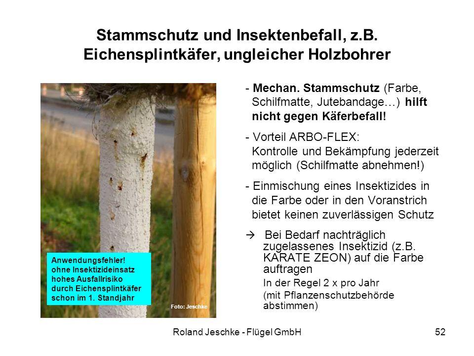 Roland Jeschke - Flügel GmbH52 Stammschutz und Insektenbefall, z.B. Eichensplintkäfer, ungleicher Holzbohrer - Mechan. Stammschutz (Farbe, Schilfmatte
