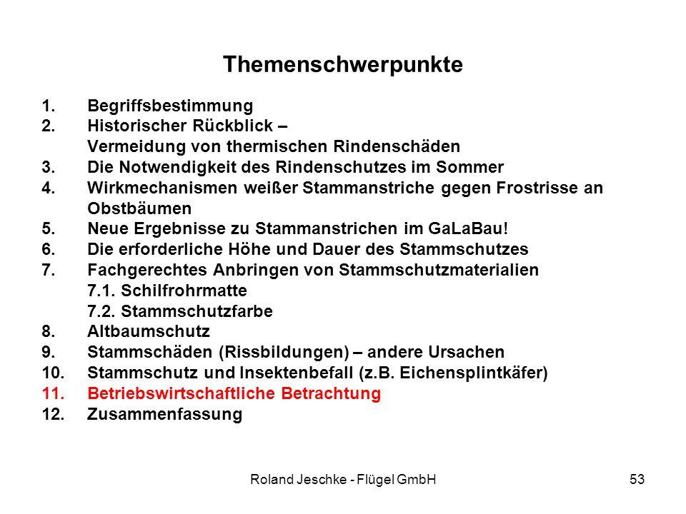 Roland Jeschke - Flügel GmbH53 Themenschwerpunkte 1.Begriffsbestimmung 2.Historischer Rückblick – Vermeidung von thermischen Rindenschäden 3.Die Notwendigkeit des Rindenschutzes im Sommer 4.