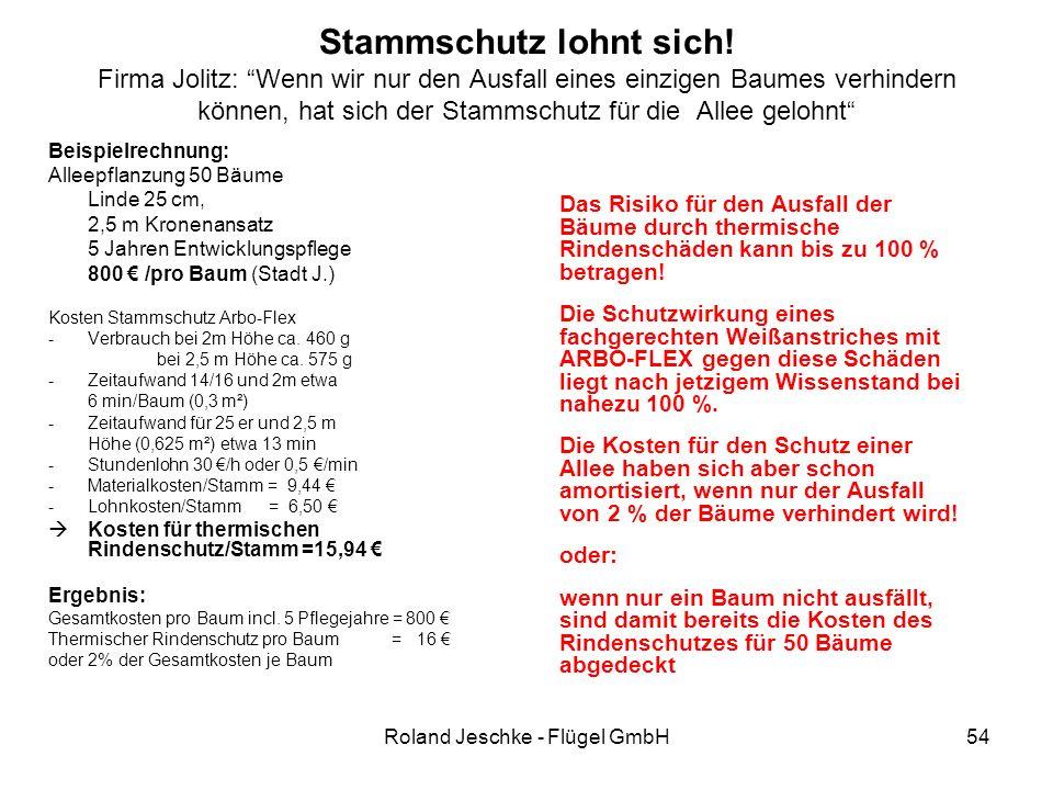 """Roland Jeschke - Flügel GmbH54 Stammschutz lohnt sich! Firma Jolitz: """"Wenn wir nur den Ausfall eines einzigen Baumes verhindern können, hat sich der S"""