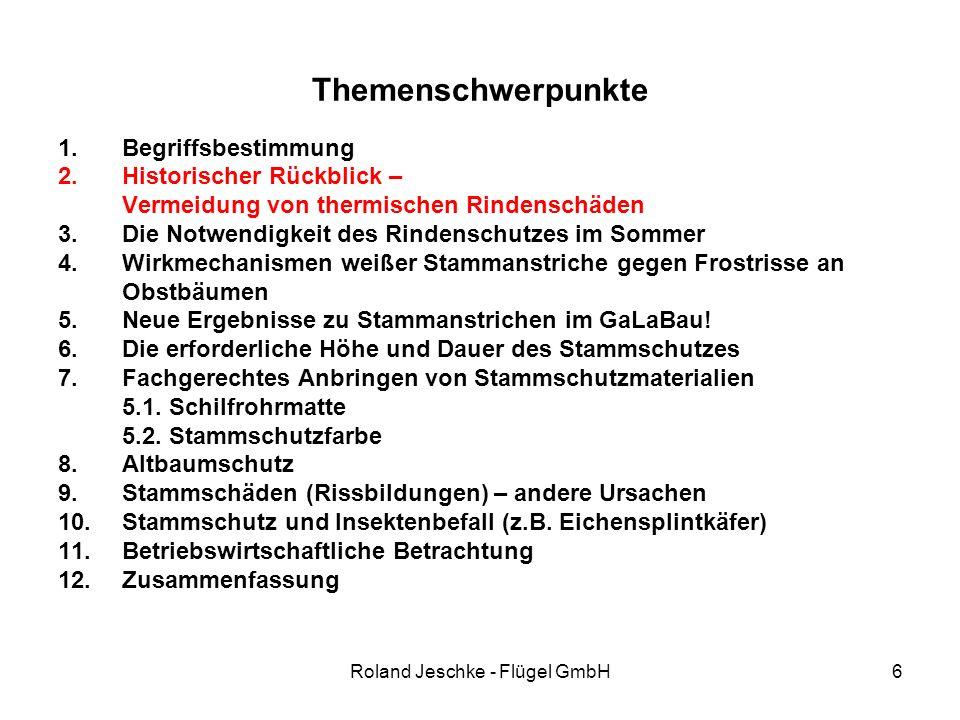 Roland Jeschke - Flügel GmbH6 Themenschwerpunkte 1.Begriffsbestimmung 2.Historischer Rückblick – Vermeidung von thermischen Rindenschäden 3.Die Notwendigkeit des Rindenschutzes im Sommer 4.