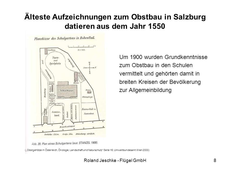 Roland Jeschke - Flügel GmbH8 Älteste Aufzeichnungen zum Obstbau in Salzburg datieren aus dem Jahr 1550 Um 1900 wurden Grundkenntnisse zum Obstbau in