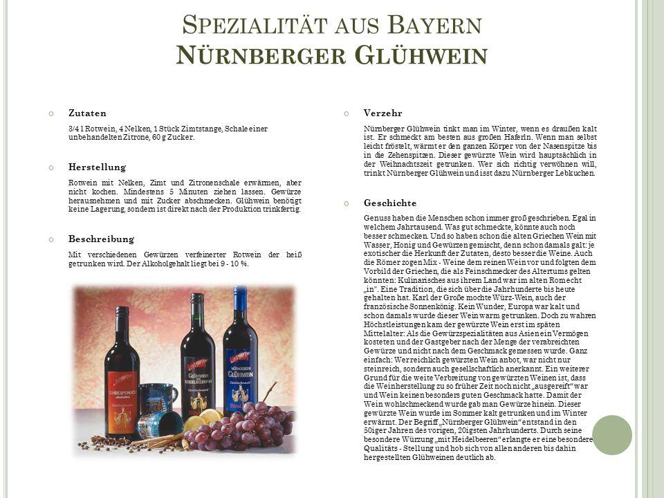 S PEZIALITÄT AUS B AYERN N ÜRNBERGER G LÜHWEIN Verzehr Nürnberger Glühwein tinkt man im Winter, wenn es draußen kalt ist.