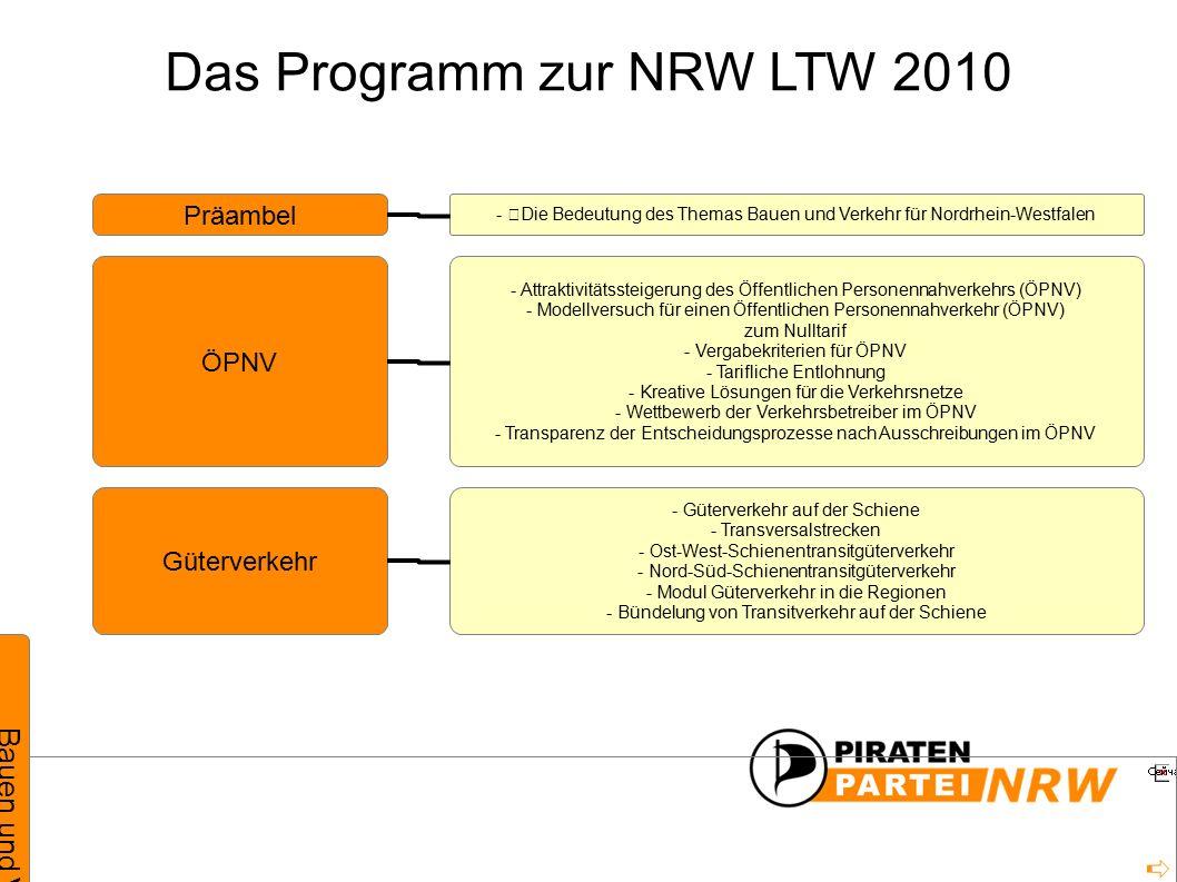 Das Programm zur NRW LTW 2010 Bauen und Verkehr Präambel ÖPNV Güterverkehr - Die Bedeutung des Themas Bauen und Verkehr für Nordrhein-Westfalen - Attraktivitätssteigerung des Öffentlichen Personennahverkehrs (ÖPNV) - Modellversuch für einen Öffentlichen Personennahverkehr (ÖPNV) zum Nulltarif - Vergabekriterien für ÖPNV - Tarifliche Entlohnung - Kreative Lösungen für die Verkehrsnetze - Wettbewerb der Verkehrsbetreiber im ÖPNV - Transparenz der Entscheidungsprozesse nach Ausschreibungen im ÖPNV - Güterverkehr auf der Schiene - Transversalstrecken - Ost-West-Schienentransitgüterverkehr - Nord-Süd-Schienentransitgüterverkehr - Modul Güterverkehr in die Regionen - Bündelung von Transitverkehr auf der Schiene