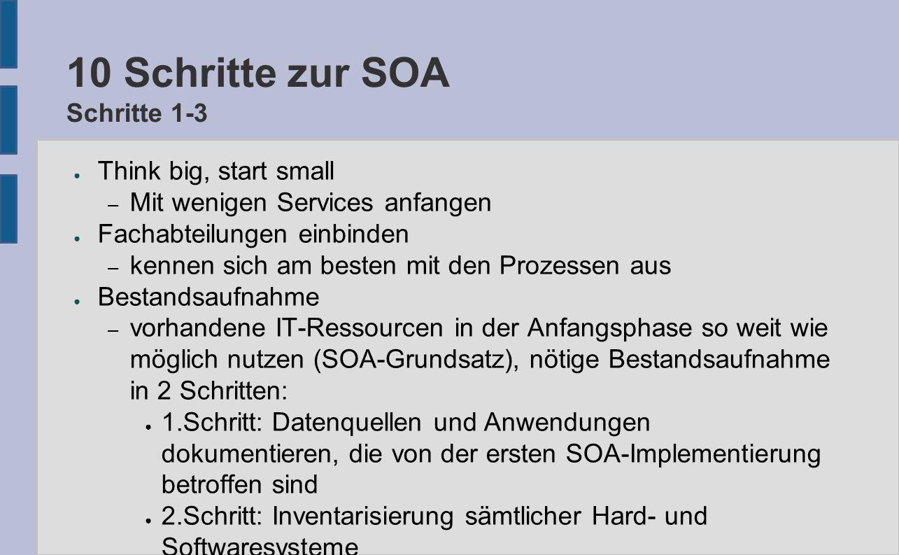 10 Schritte zur SOA Schritte 1-3 ● Think big, start small – Mit wenigen Services anfangen ● Fachabteilungen einbinden – kennen sich am besten mit den Prozessen aus ● Bestandsaufnahme – vorhandene IT-Ressourcen in der Anfangsphase so weit wie möglich nutzen (SOA-Grundsatz), nötige Bestandsaufnahme in 2 Schritten: ● 1.Schritt: Datenquellen und Anwendungen dokumentieren, die von der ersten SOA-Implementierung betroffen sind ● 2.Schritt: Inventarisierung sämtlicher Hard- und Softwaresysteme
