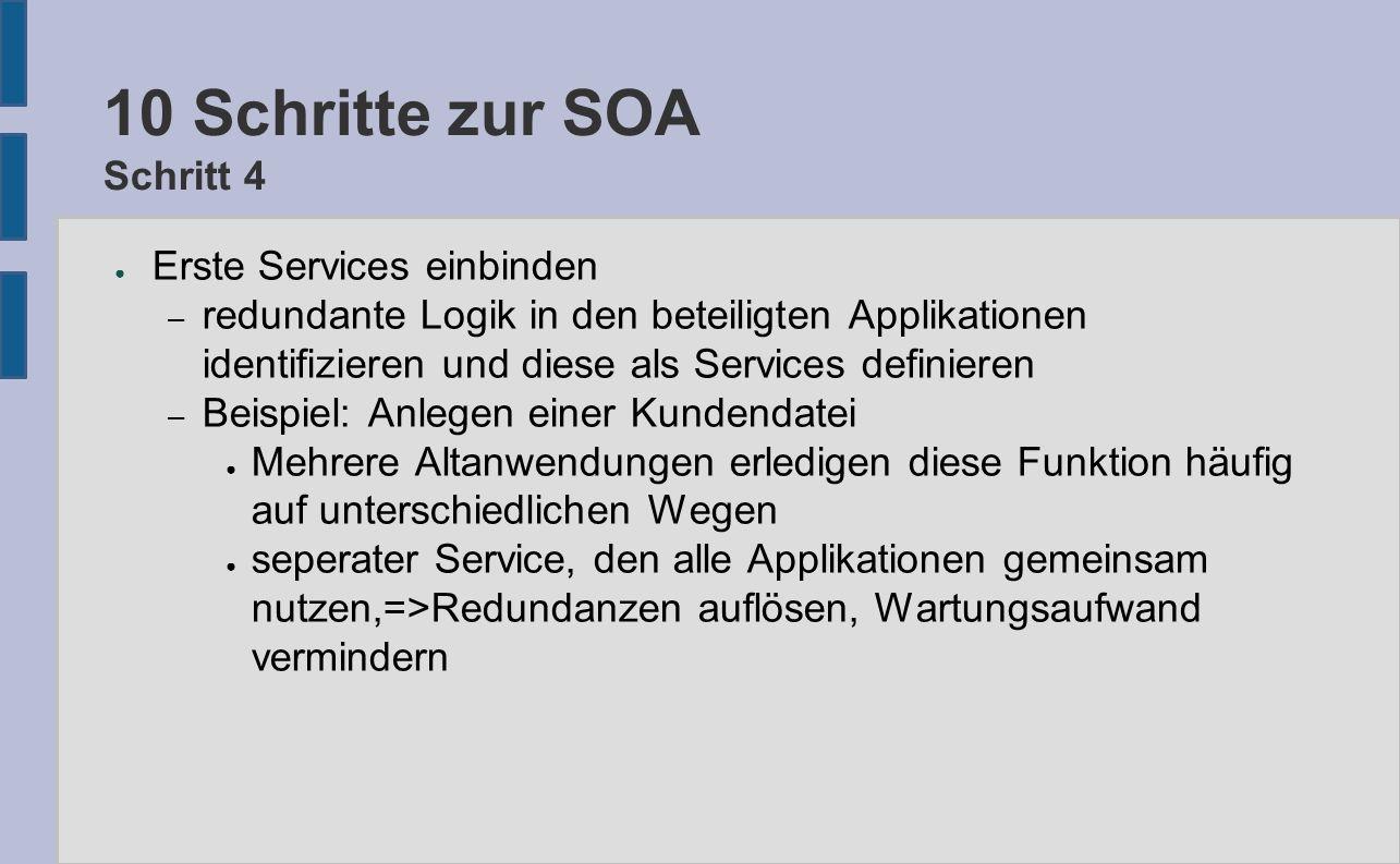 10 Schritte zur SOA Schritt 4 ● Erste Services einbinden – redundante Logik in den beteiligten Applikationen identifizieren und diese als Services def