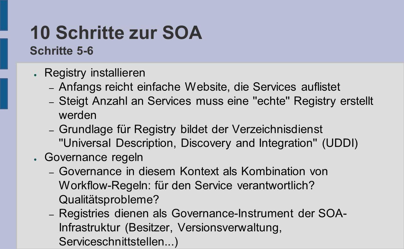 10 Schritte zur SOA Schritte 5-6 ● Registry installieren – Anfangs reicht einfache Website, die Services auflistet – Steigt Anzahl an Services muss ei