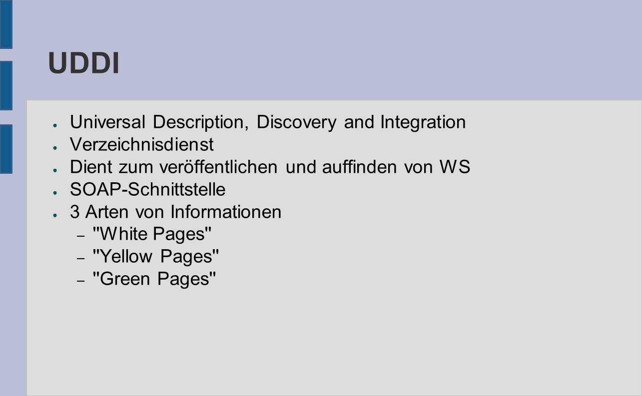 UDDI ● Universal Description, Discovery and Integration ● Verzeichnisdienst ● Dient zum veröffentlichen und auffinden von WS ● SOAP-Schnittstelle ● 3