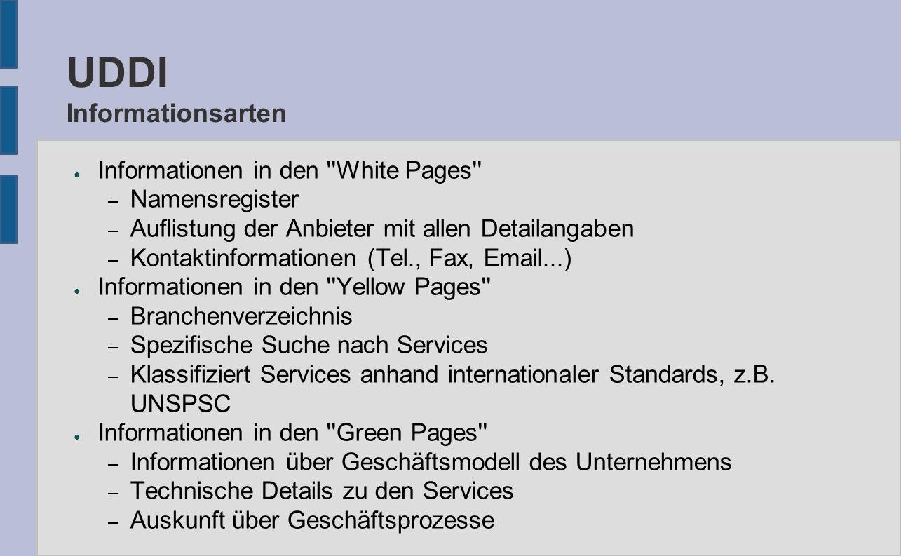 UDDI Informationsarten ● Informationen in den ''White Pages'' – Namensregister – Auflistung der Anbieter mit allen Detailangaben – Kontaktinformatione