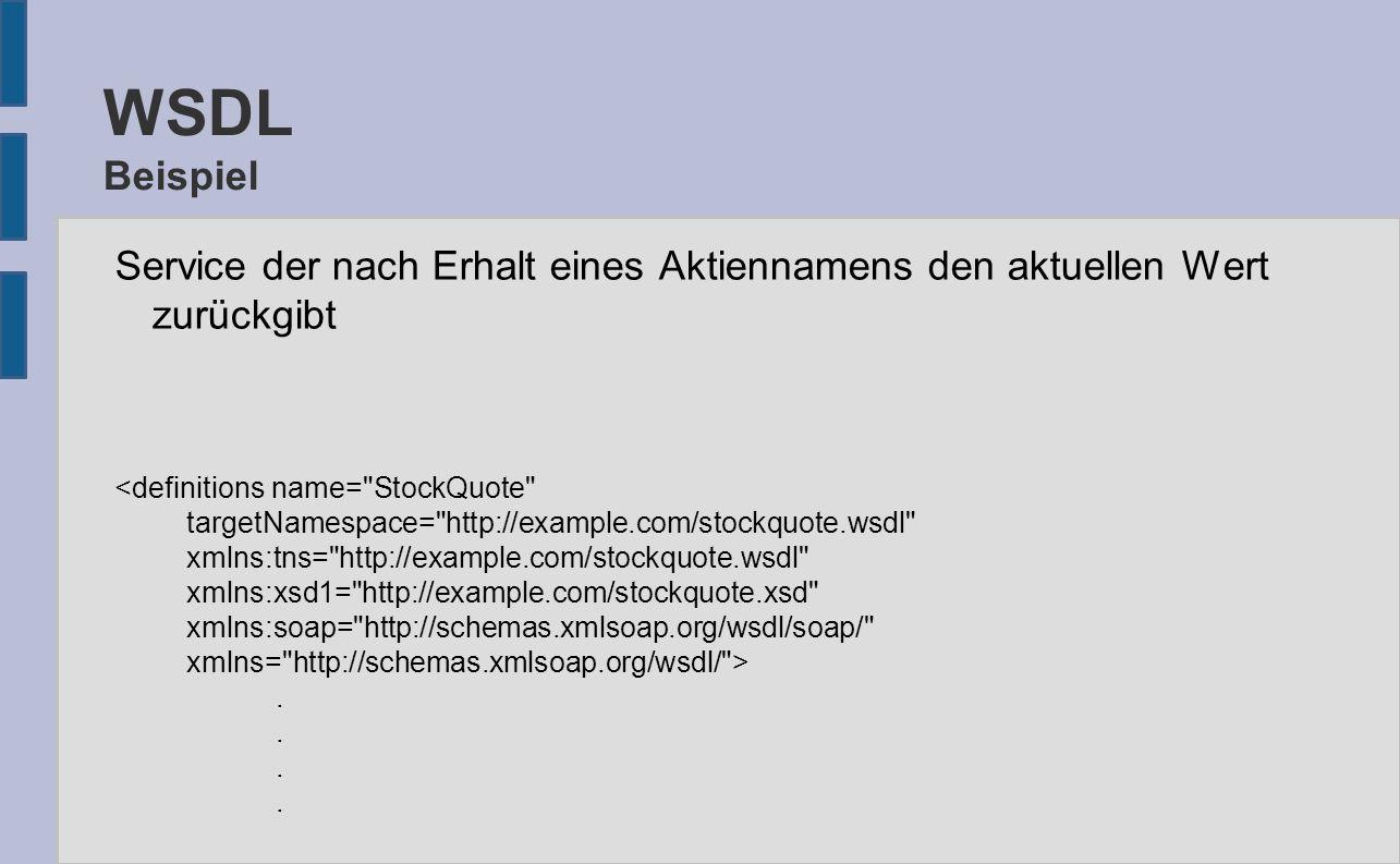 WSDL Beispiel Service der nach Erhalt eines Aktiennamens den aktuellen Wert zurückgibt <definitions name= StockQuote targetNamespace= http://example.com/stockquote.wsdl xmlns:tns= http://example.com/stockquote.wsdl xmlns:xsd1= http://example.com/stockquote.xsd xmlns:soap= http://schemas.xmlsoap.org/wsdl/soap/ xmlns= http://schemas.xmlsoap.org/wsdl/ >.