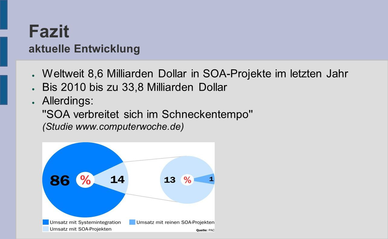 Fazit aktuelle Entwicklung ● Weltweit 8,6 Milliarden Dollar in SOA-Projekte im letzten Jahr ● Bis 2010 bis zu 33,8 Milliarden Dollar ● Allerdings: SOA verbreitet sich im Schneckentempo (Studie www.computerwoche.de)