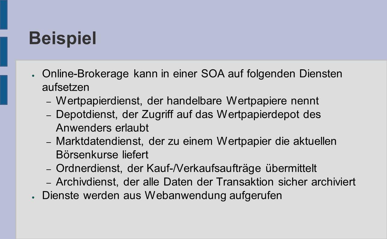 Beispiel ● Online-Brokerage kann in einer SOA auf folgenden Diensten aufsetzen – Wertpapierdienst, der handelbare Wertpapiere nennt – Depotdienst, der