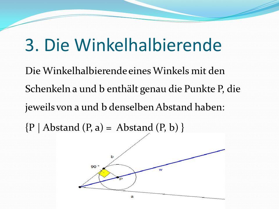 3. Die Winkelhalbierende Die Winkelhalbierende eines Winkels mit den Schenkeln a und b enthält genau die Punkte P, die jeweils von a und b denselben A