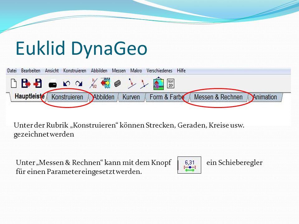 """Euklid DynaGeo Unter der Rubrik """"Konstruieren können Strecken, Geraden, Kreise usw."""