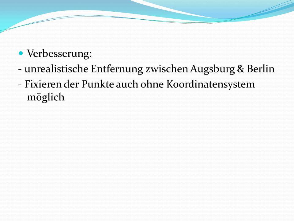 Verbesserung: - unrealistische Entfernung zwischen Augsburg & Berlin - Fixieren der Punkte auch ohne Koordinatensystem möglich
