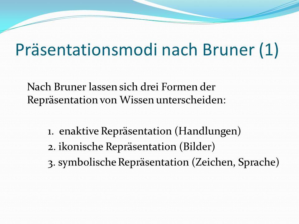 Präsentationsmodi nach Bruner (1) Nach Bruner lassen sich drei Formen der Repräsentation von Wissen unterscheiden: 1.