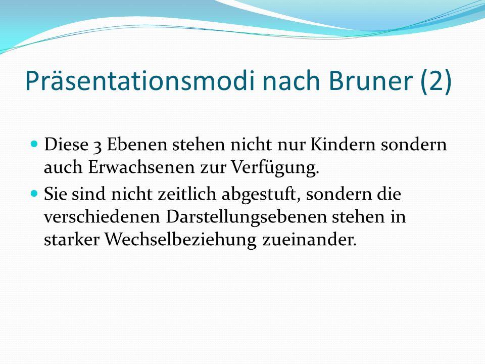 Präsentationsmodi nach Bruner (2) Diese 3 Ebenen stehen nicht nur Kindern sondern auch Erwachsenen zur Verfügung.