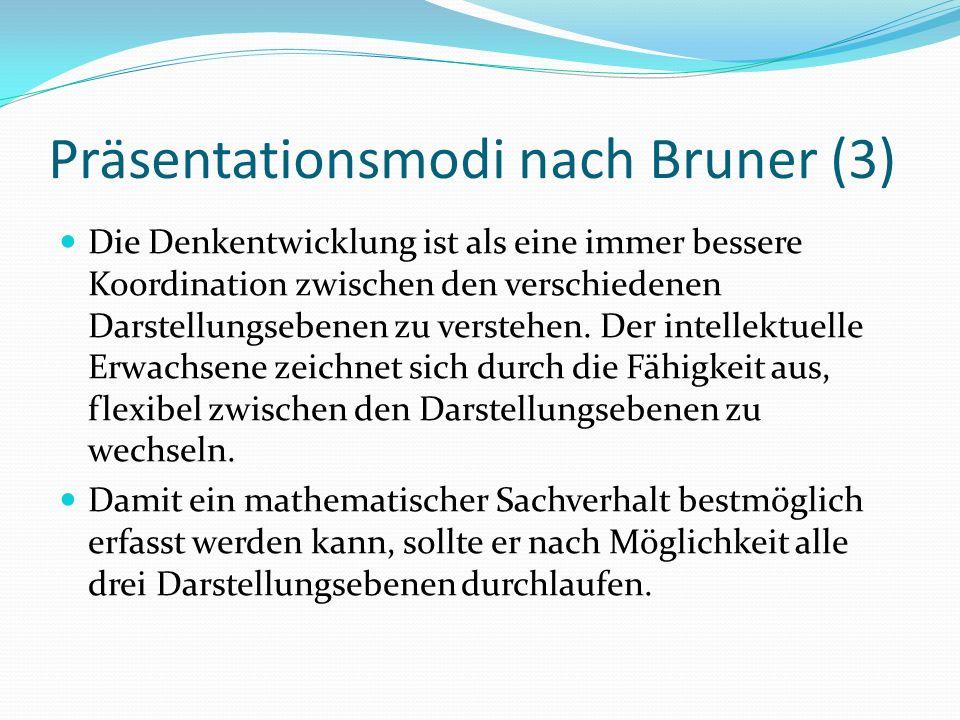 Präsentationsmodi nach Bruner (3) Die Denkentwicklung ist als eine immer bessere Koordination zwischen den verschiedenen Darstellungsebenen zu verstehen.