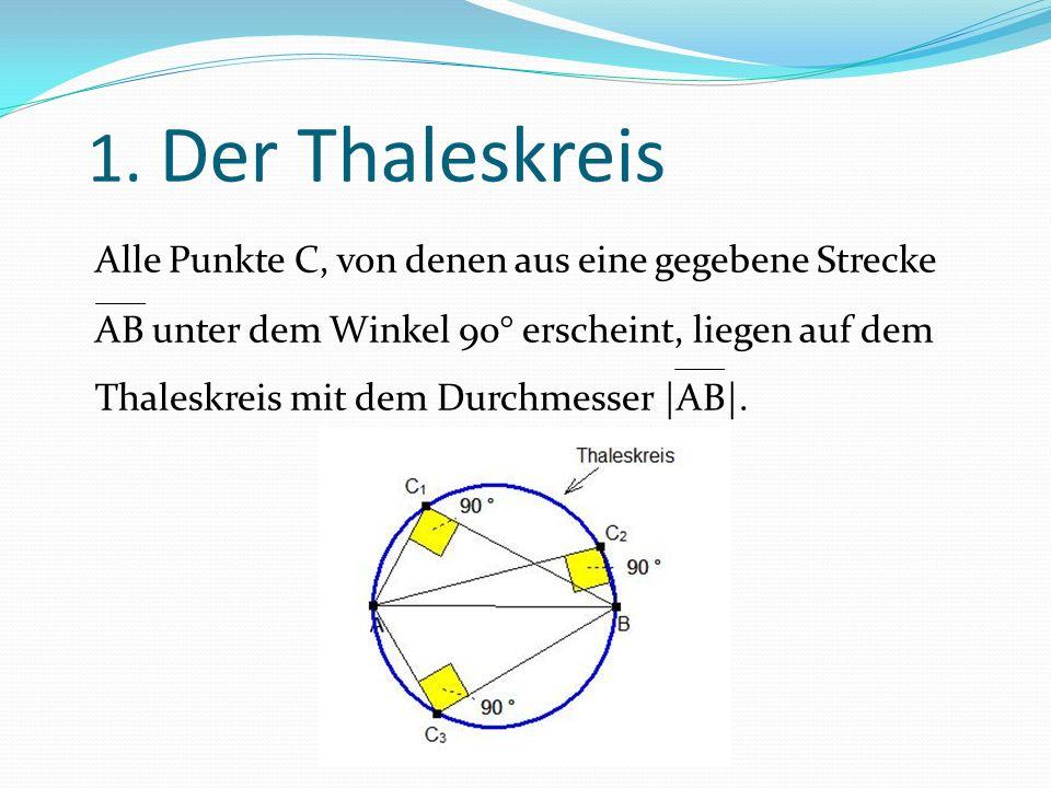 1. Der Thaleskreis Alle Punkte C, von denen aus eine gegebene Strecke AB unter dem Winkel 90° erscheint, liegen auf dem Thaleskreis mit dem Durchmesse