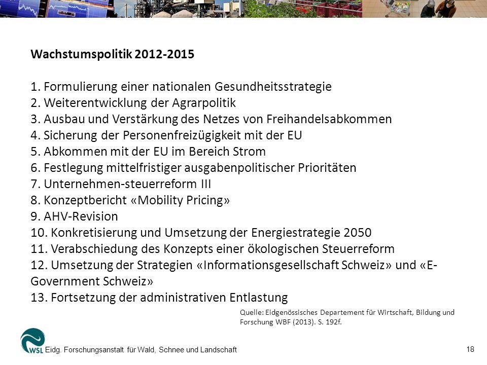 18 Eidg. Forschungsanstalt für Wald, Schnee und Landschaft Wachstumspolitik 2012-2015 1.