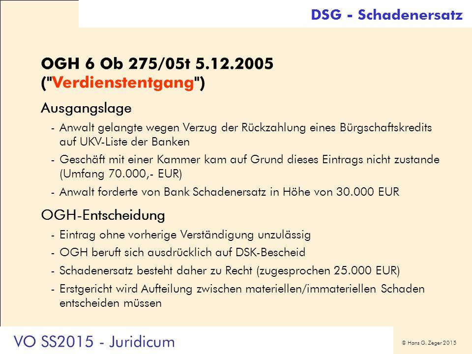 © Hans G. Zeger 2015 DSG - Schadenersatz OGH 6 Ob 275/05t 5.12.2005 (