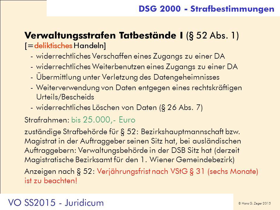 © Hans G. Zeger 2015 DSG 2000 - Strafbestimmungen Verwaltungsstrafen Tatbestände I (§ 52 Abs. 1) [=deliktisches Handeln] -widerrechtliches Verschaffen