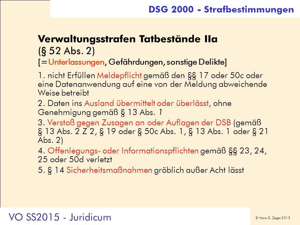 © Hans G. Zeger 2015 Verwaltungsstrafen Tatbestände IIa (§ 52 Abs. 2) [=Unterlassungen, Gefährdungen, sonstige Delikte] 1. nicht Erfüllen Meldepflicht