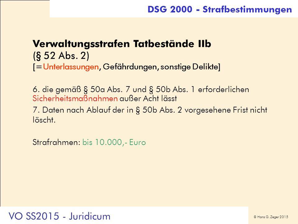 © Hans G. Zeger 2015 DSG 2000 - Strafbestimmungen Verwaltungsstrafen Tatbestände IIb (§ 52 Abs. 2) [=Unterlassungen, Gefährdungen, sonstige Delikte] 6