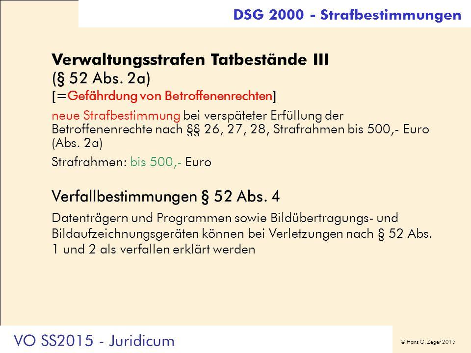 © Hans G. Zeger 2015 DSG 2000 - Strafbestimmungen Verwaltungsstrafen Tatbestände III (§ 52 Abs. 2a) [=Gefährdung von Betroffenenrechten] neue Strafbes
