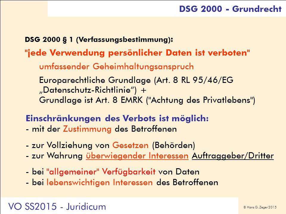 © Hans G. Zeger 2015 DSG 2000 - Grundrecht DSG 2000 § 1 (Verfassungsbestimmung) :