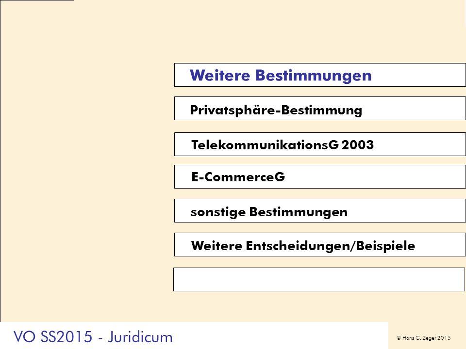 © Hans G. Zeger 2015 Privatsphäre-Bestimmung E-CommerceG sonstige Bestimmungen Weitere Bestimmungen TelekommunikationsG 2003 Weitere Entscheidungen/Be
