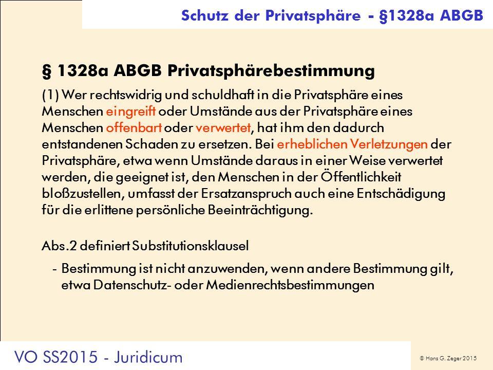 © Hans G. Zeger 2015 § 1328a ABGB Privatsphärebestimmung (1) Wer rechtswidrig und schuldhaft in die Privatsphäre eines Menschen eingreift oder Umständ