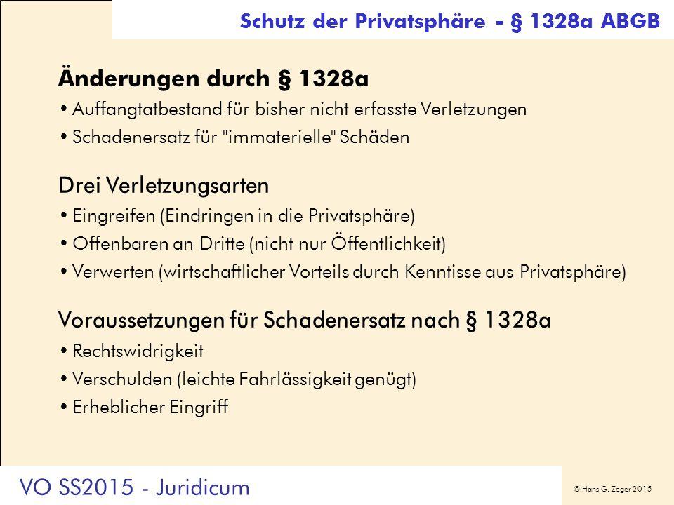 © Hans G. Zeger 2015 Änderungen durch § 1328a Auffangtatbestand für bisher nicht erfasste Verletzungen Schadenersatz für