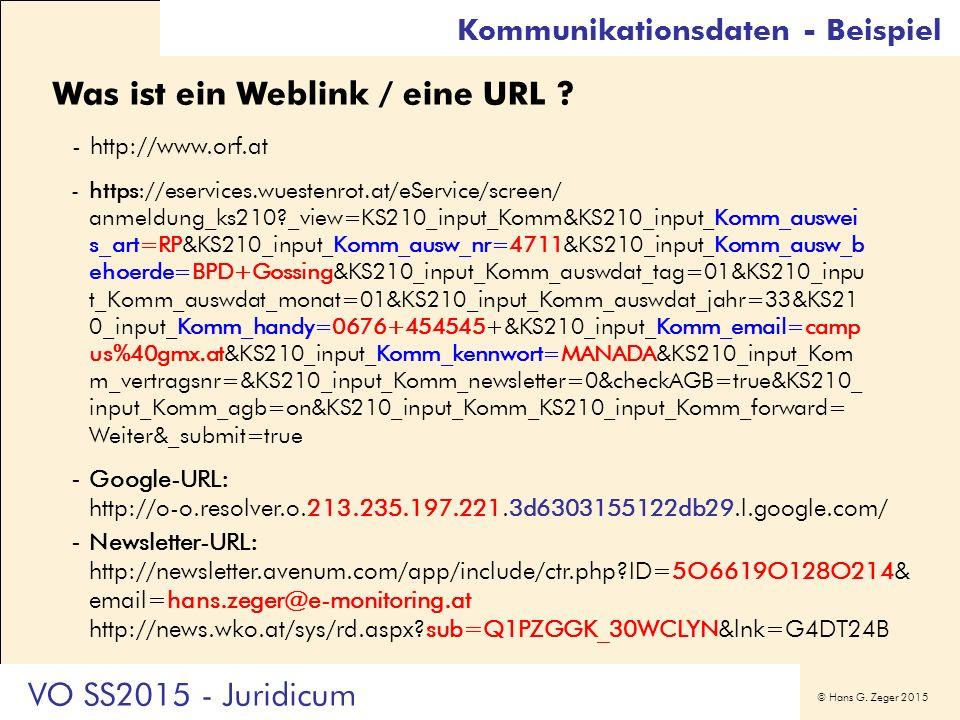 © Hans G. Zeger 2015 Kommunikationsdaten - Beispiel Was ist ein Weblink / eine URL ? -http://www.orf.at -https://eservices.wuestenrot.at/eService/scre