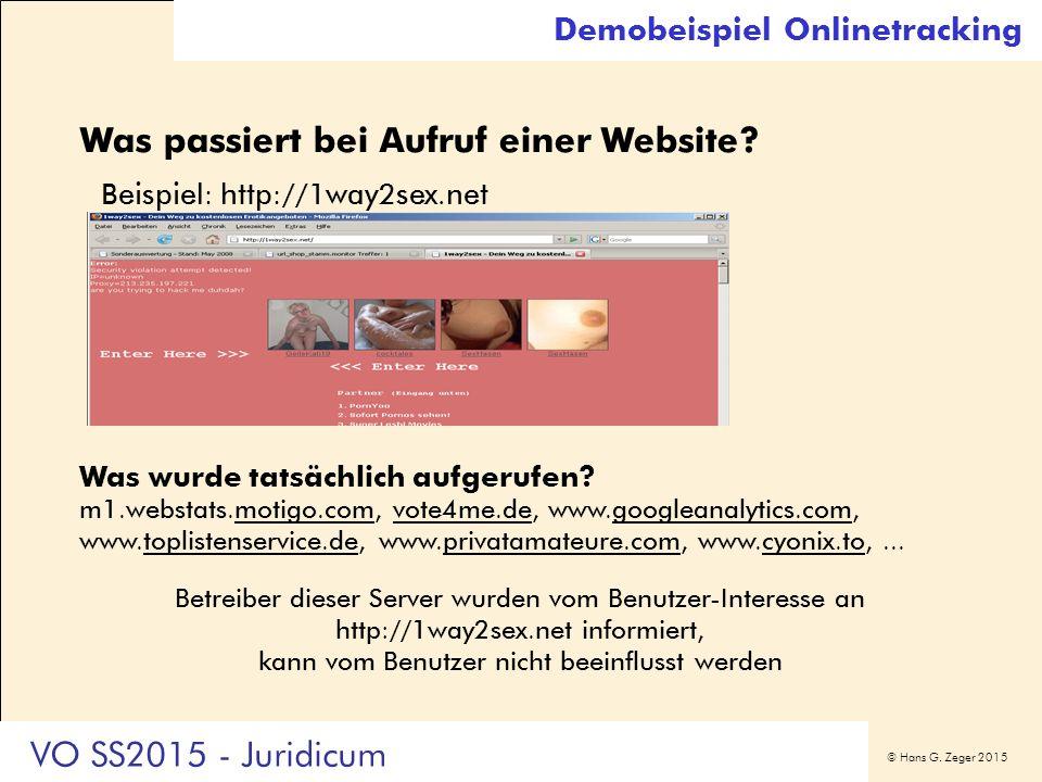 © Hans G. Zeger 2015 Demobeispiel Onlinetracking Was passiert bei Aufruf einer Website? Beispiel: http://1way2sex.net Was wurde tatsächlich aufgerufen
