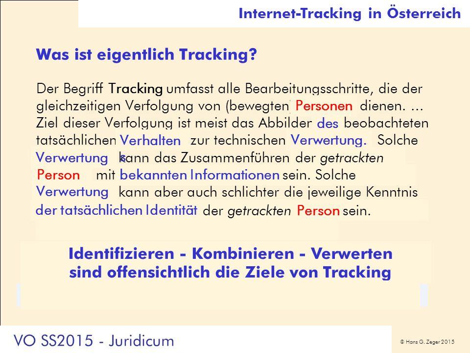 © Hans G. Zeger 2015 Internet-Tracking in Österreich Was ist eigentlich Tracking? Der Begriff Tracking umfasst alle Bearbeitungsschritte, die der glei