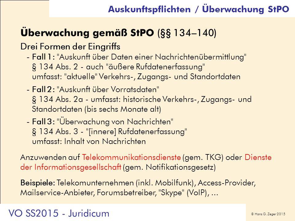 © Hans G. Zeger 2015 Auskunftspflichten / Überwachung StPO Überwachung gemäß StPO (§§ 134–140) Drei Formen der Eingriffs -Fall 1: