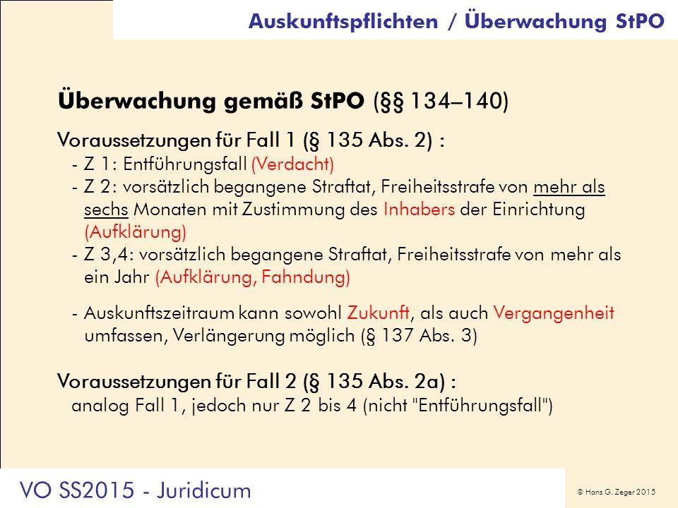 © Hans G. Zeger 2015 Auskunftspflichten / Überwachung StPO Überwachung gemäß StPO (§§ 134–140) Voraussetzungen für Fall 1 (§ 135 Abs. 2) : -Z 1: Entfü