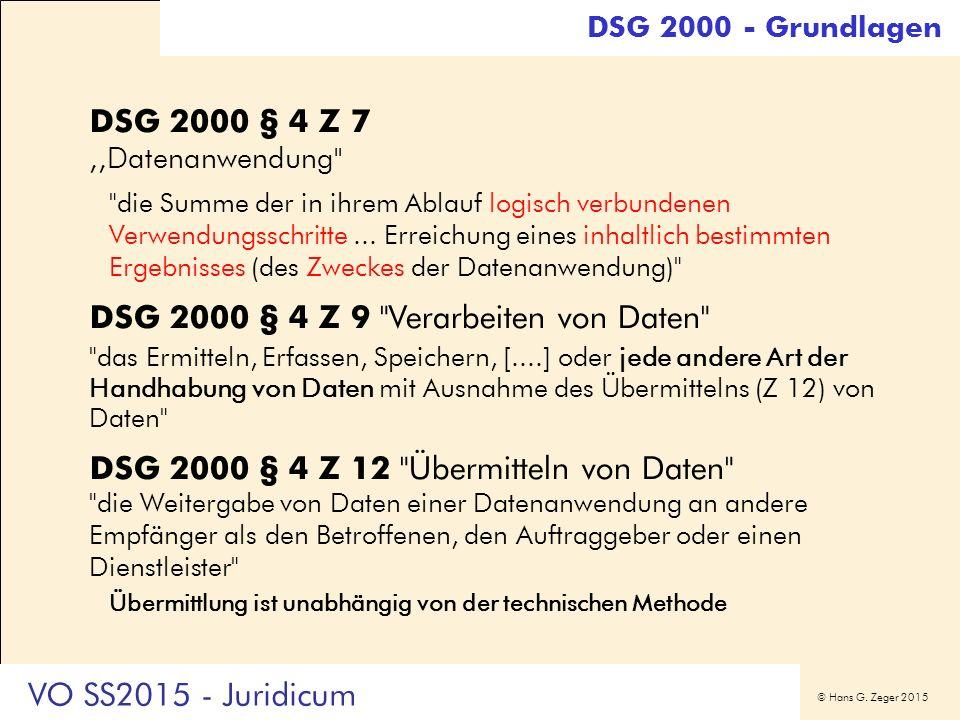 © Hans G. Zeger 2015 DSG 2000 § 4 Z 7,,Datenanwendung''