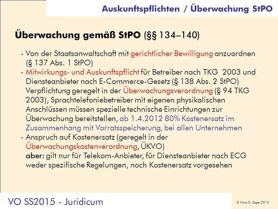 © Hans G. Zeger 2015 Überwachung gemäß StPO (§§ 134–140) -Von der Staatsanwaltschaft mit gerichtlicher Bewilligung anzuordnen (§ 137 Abs. 1 StPO) -Mit