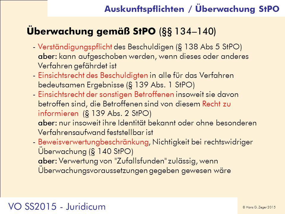 © Hans G. Zeger 2015 Überwachung gemäß StPO (§§ 134–140) -Verständigungspflicht des Beschuldigen (§ 138 Abs 5 StPO) aber: kann aufgeschoben werden, we