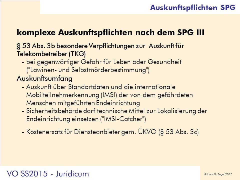 © Hans G. Zeger 2015 Auskunftspflichten SPG komplexe Auskunftspflichten nach dem SPG III § 53 Abs. 3b besondere Verpflichtungen zur Auskunft für Telek
