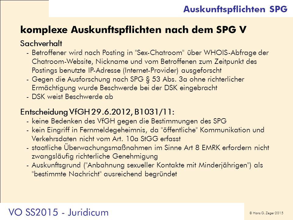 © Hans G. Zeger 2015 komplexe Auskunftspflichten nach dem SPG V Sachverhalt -Betroffener wird nach Posting in