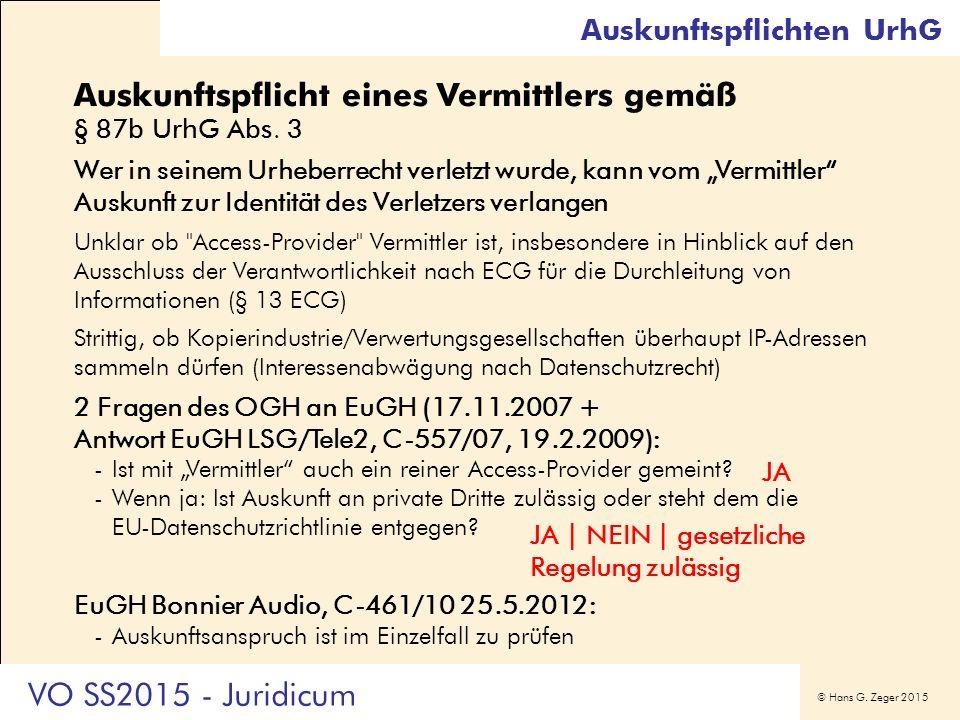 """© Hans G. Zeger 2015 Auskunftspflicht eines Vermittlers gemäß § 87b UrhG Abs. 3 Wer in seinem Urheberrecht verletzt wurde, kann vom """"Vermittler"""" Ausku"""