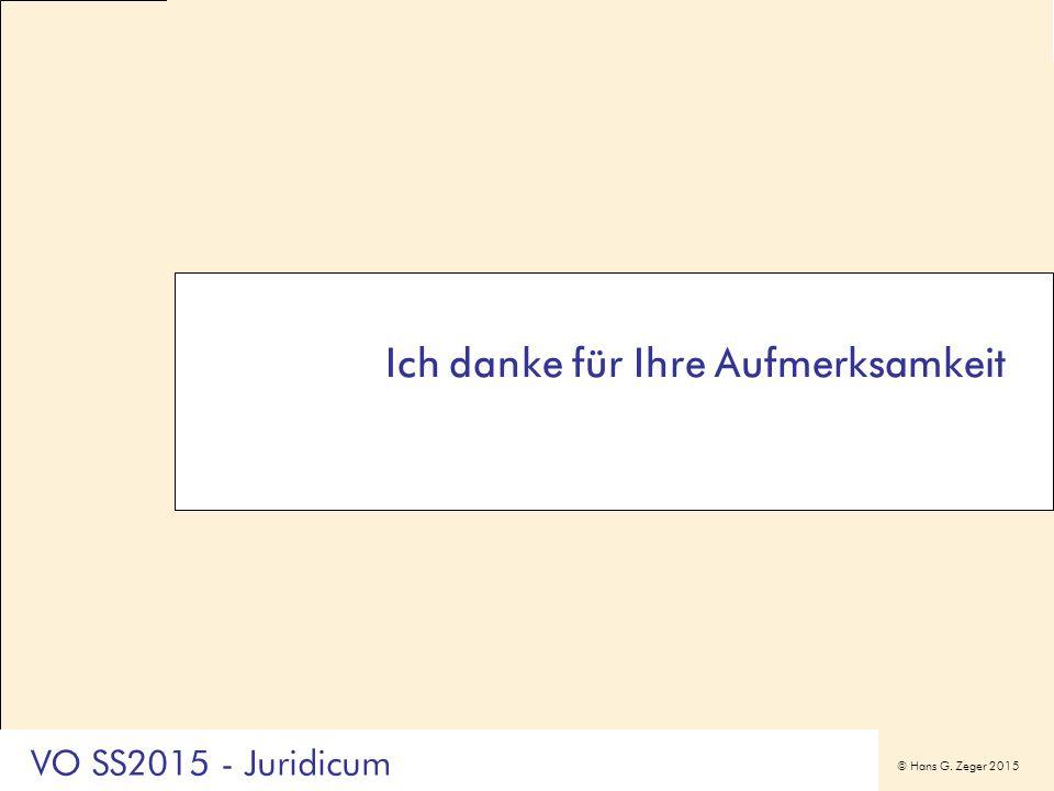© Hans G. Zeger 2015 Ich danke für Ihre Aufmerksamkeit VO SS2015 - Juridicum