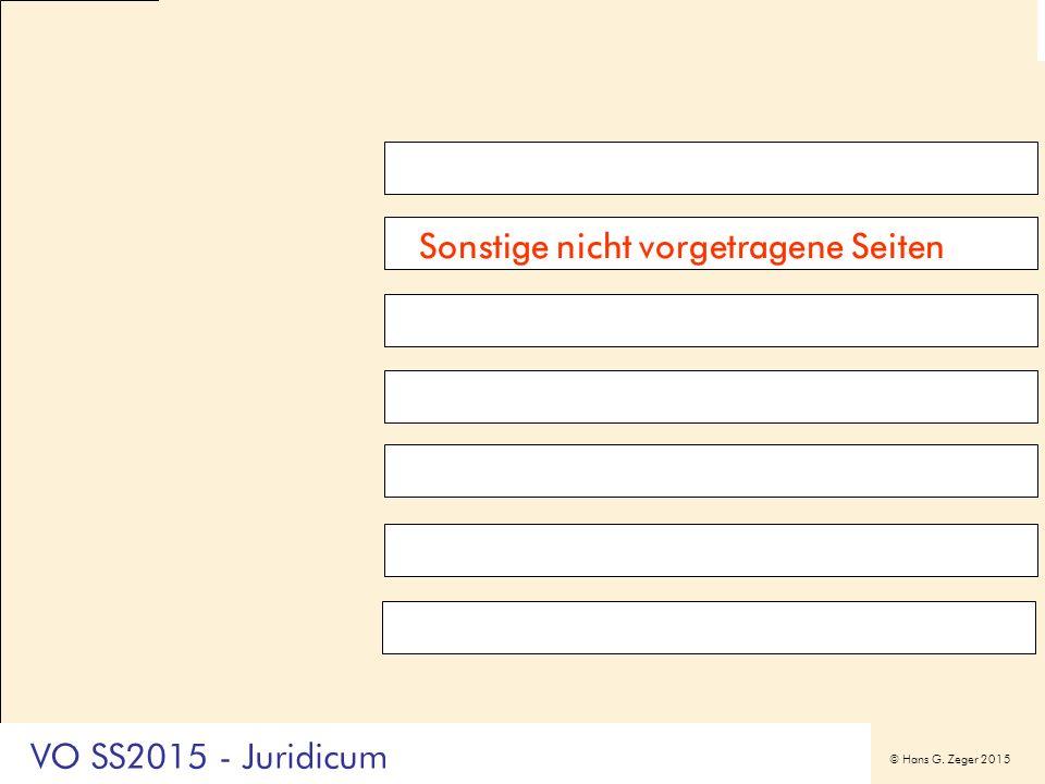 © Hans G. Zeger 2015 Sonstige nicht vorgetragene Seiten VO SS2015 - Juridicum